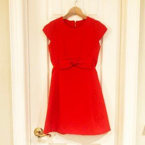 Orange A-Line Dress w/ Cap Sleeves and Bow